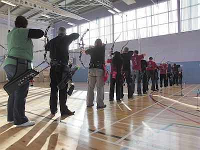 Morning session shooting line with archers ready to shoot first arrow of end