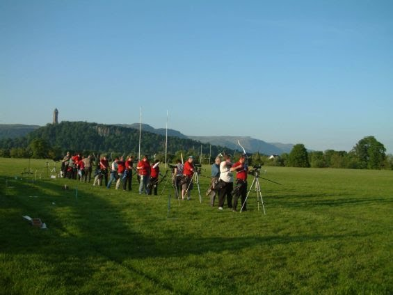 Shooting line amid the Wallace Monument and beautiful blue skies