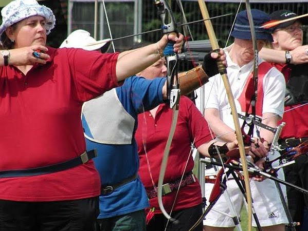Photo of two arrows caught in mid-air shortly after being shot by Brenda and George