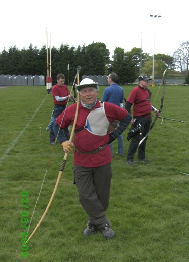 Picture of George being propped up with longbow or is it the other way around?