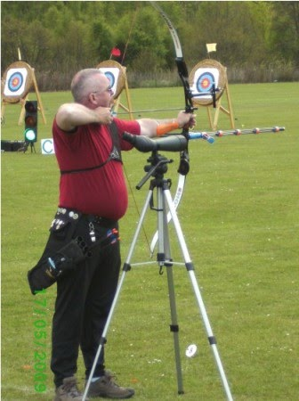 George at full draw at Penicuik Double FITA shoot