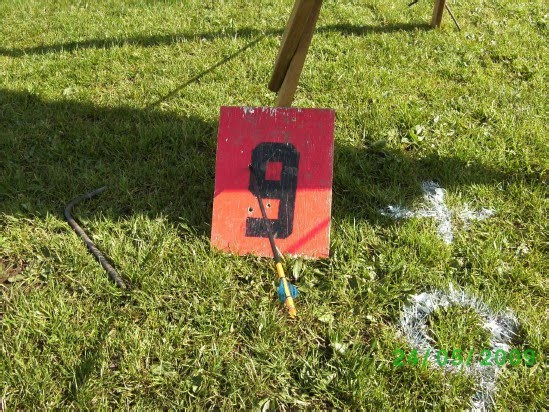 One of Brenda's infamous trick shots where the arrow has pierced through the number nine target marker